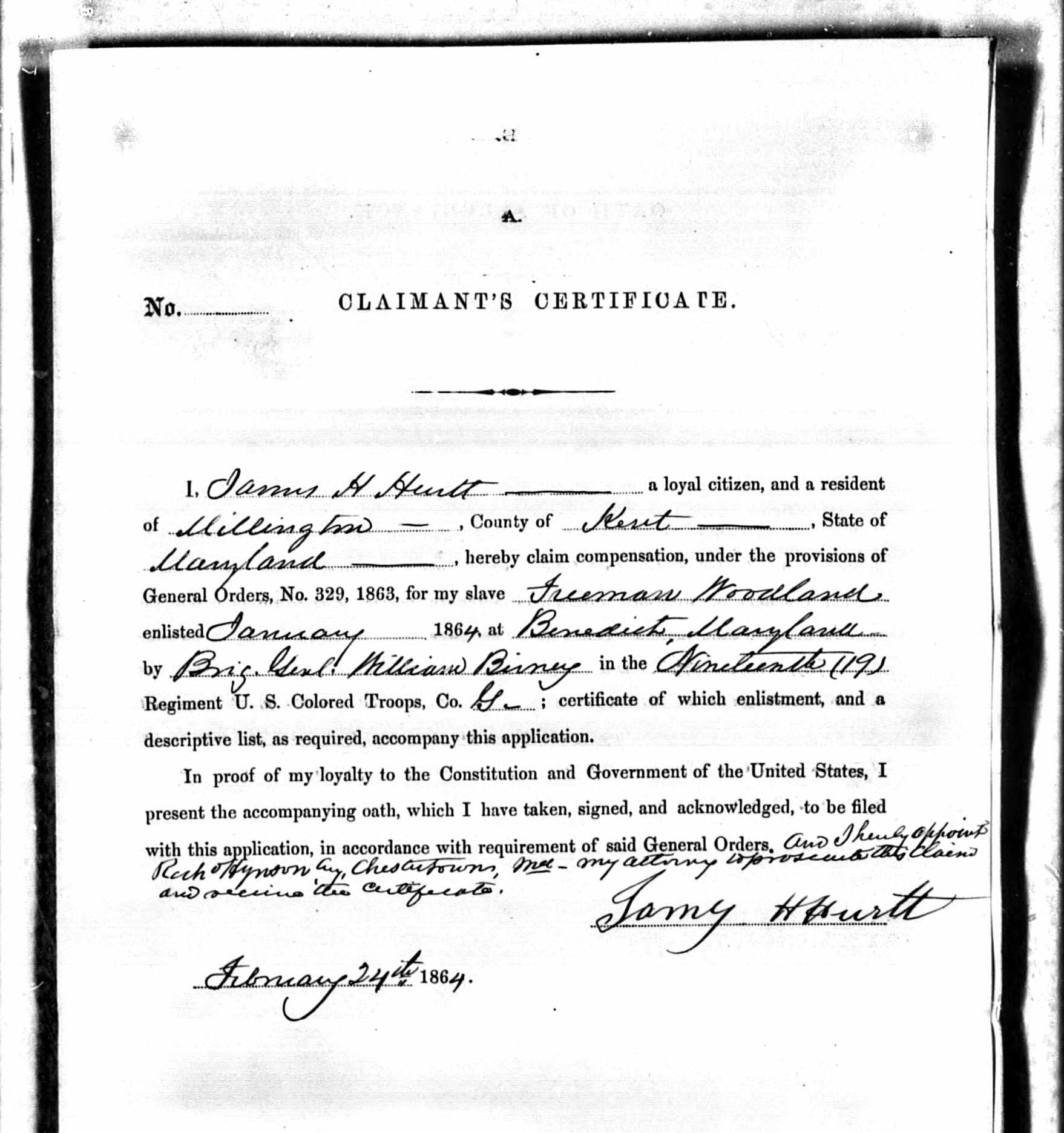 Freeman woodland msa sc 3520 7908 us colored troops military service records 1861 1865 company g 19th regiment freeman woodland claim certificate image number 672 1betcityfo Choice Image