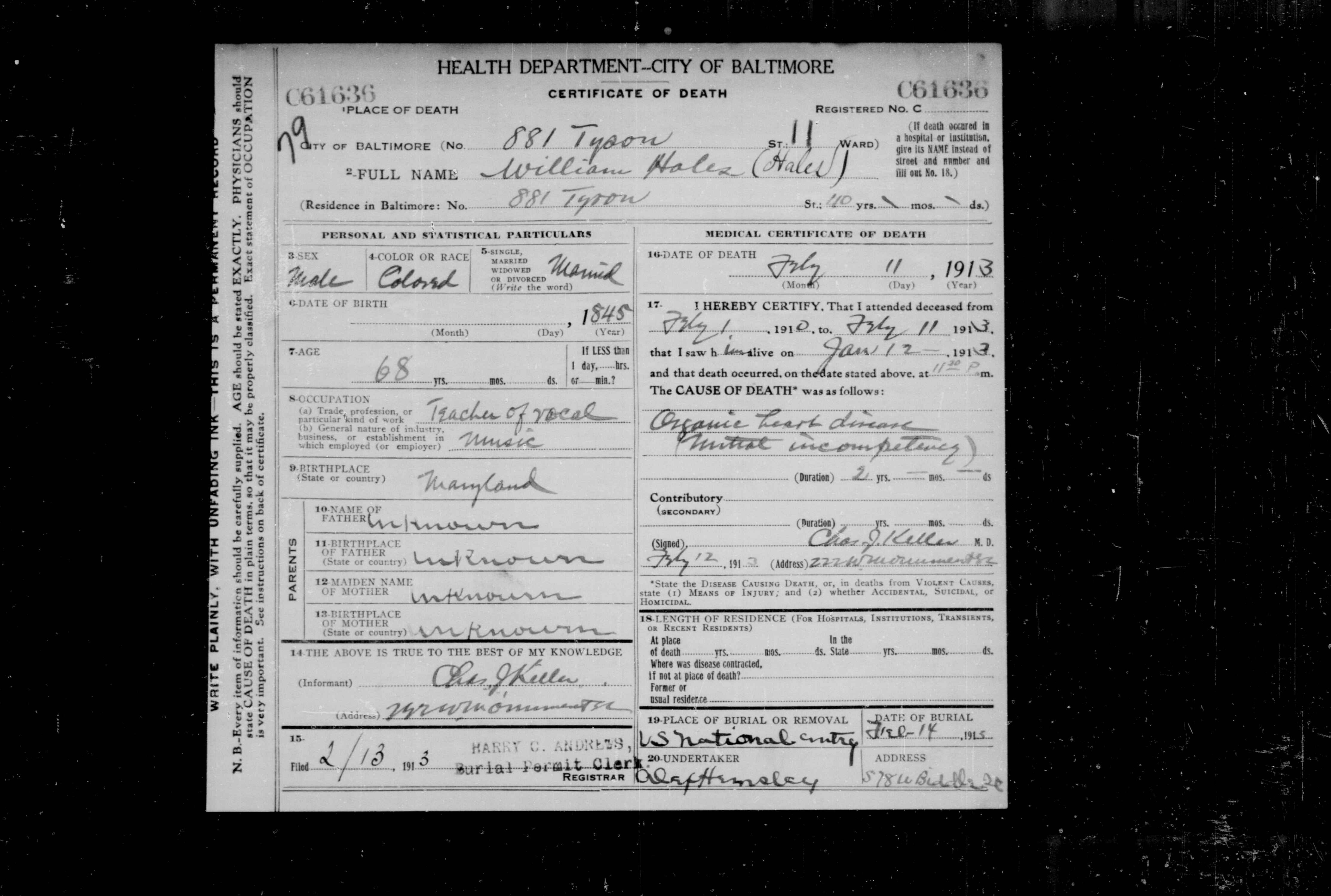 William hales msa sc 5496 51313 baltimore city health department bureau of vital statistics death record dates 021913 051913 william hales msa cm1132 115 aiddatafo Gallery