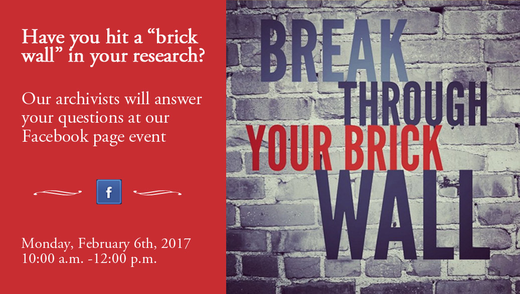 A Virtual Brick Wall Session will be held on the Maryland State Archives Facebook Page on February 6th, 2017 from 10am to Noon