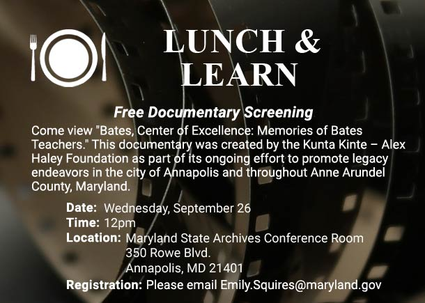 Lunch and Learn Free Lecture at the Archives on September 26 at Noon