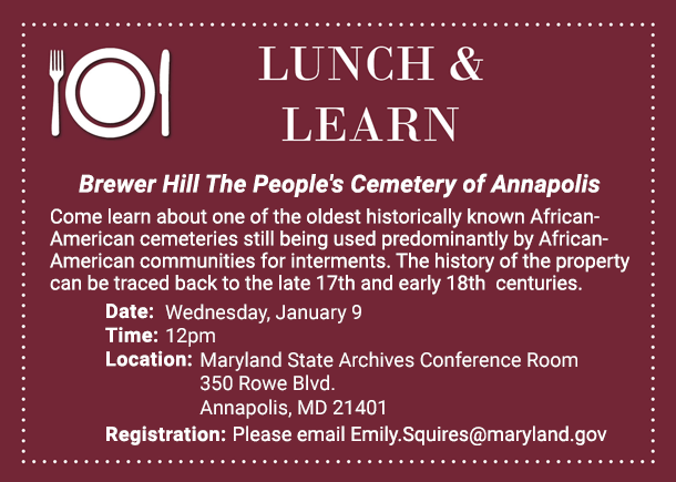 Free Lunch and Learn January Lecture - Brewer Cemetery
