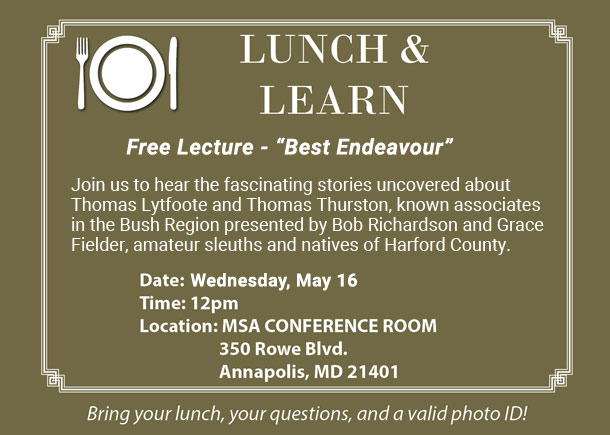 Lunch and Learn Free Lecture at the Archives on May 16 at Noon