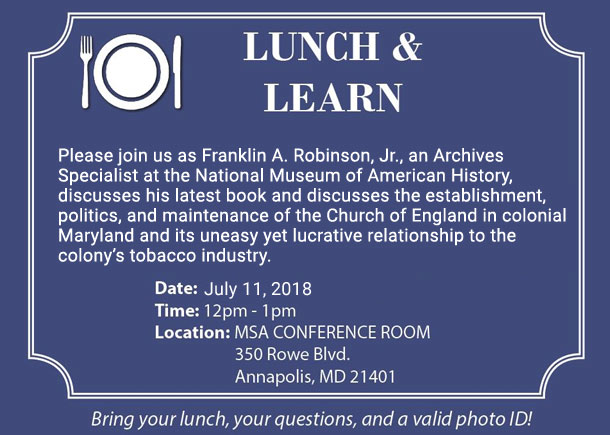 Lunch and Learn event by Franklin A. Robinson, Jr. where he talks about his new book called Faith and Tobacco