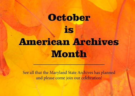 October Events at the Maryland State Archives