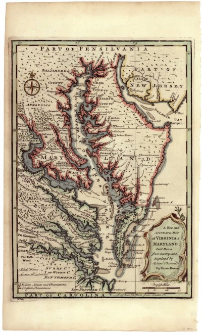 Map Of Virginia And Maryland By Emmanuel Bowen 1747 1752