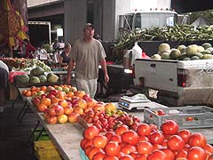 Heirloom tomatoes at Baltimore Farmers' Market, Holliday St. & Saratoga St., Baltimore, Maryland