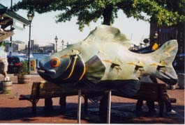 [photo, Life at Sea, fish (fiberglass), by Dietrich Maune, Fell's Point, Baltimore, Maryland]