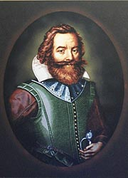 [photo, Captain John Smith, engraving by Simon van de Passe, 1616, Havre de Grace Maritime Museum, 100 Lafayette St., Havre de Grace, Maryland]