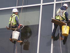 [photo, Window washers, St. Agnes Hospital, Catonsville, Maryland]
