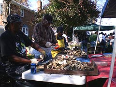 [photo, Shucking oysters, Shady Side, Maryland]