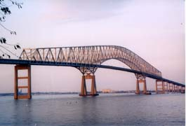 [photo, Key Bridge over Patapsco River, linking Baltimore City and Baltimore County, Maryland]