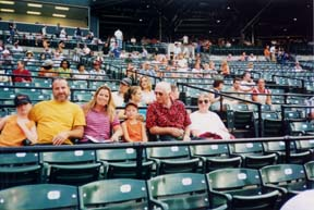 [photo, Three generations of Orioles fans, Oriole Park at Camden Yards, Baltimore, Maryland]