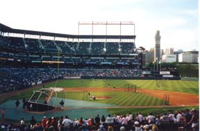 [photo, Oriole Park at Camden Yards (pre-game warm-up), Baltimore, Maryland]