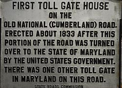 [photo, Toll Gate House plaque, 14302 National Highway (Rte. 40), LaVale, Maryland]