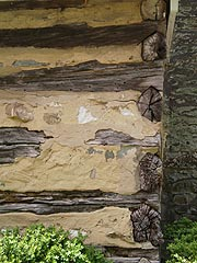 [photo, Log wall structure, Josiah Henson Site, 11420 Old Georgetown Road, North Bethesda, Maryland]