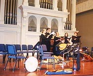 [photo, Renaissance musicians and singers, Griswald Hall, Peabody Institute, Baltimore, Maryland]