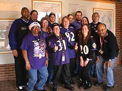 [photo, Baltimore Ravens fans at Maryland State Archives, Annapolis, Maryland]