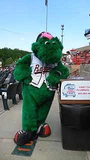 [photo, Louie, Bowie Baysox mascot, Prince George's Stadium, Bowie, Maryland]