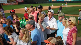 [photo, Baseball fans at Bowie Baysox vs. Akron Rubberducks game, Prince George's Stadium, Bowie, Maryland]