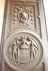 [photo, Reverse of State Seal, State House entrance door, Annapolis, Maryland]