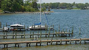 [photo, Boats at piers, Severn River, Crownsville, Maryland]
