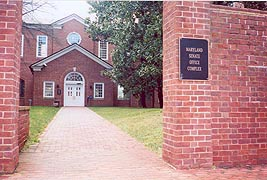 [photo, Miller Senate Office Building entrance, 11 Bladen St., Annapolis, Maryland]