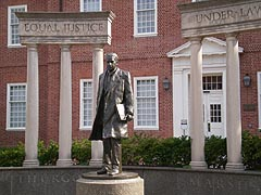 [photo, Thurgood Marshall statue at Legislative Services Building entrance, Lawyers' Mall, Annapolis, Maryland]