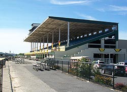 [photo, Grandstand, Timonium Race Track, Maryland State Fairgrounds, 2200 York Road, Timonium, Maryland]