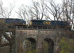 [CSX freight train crossing bridge in Gunpowder Falls State Park, Kingsville (Baltimore County), Maryland]