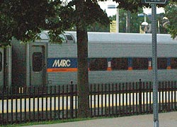 [photo, MARC train on Camden Line, Baltimore, Maryland]