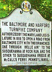 [photo, Baltimore and Harford Turnpike Company historical marker, Glen Arm (Baltimore County), Maryland]