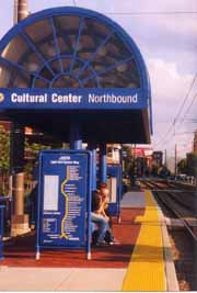 [photo, Light Rail train stop, Cultural Center (northbound), Baltimore, Maryland]