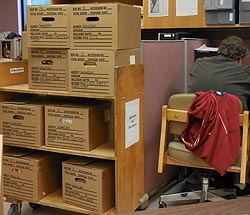 [photo, Record center boxes, Appraisal and Description, State Archives, Annapolis, Maryland]