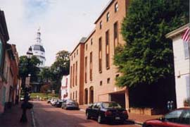 [photo, Jeffrey Building (now Wineland Building), State House in background, Annapolis, Maryland]