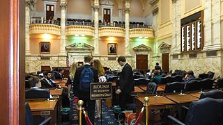 [photo, Student meeting, House of Delegates Chamber, State House, Annapolis, Maryland]
