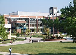 [photo, Clock Tower and  Catherine R. Gira Center for Communications and Information Technology, Frostburg State University, Frostburg, Maryland]