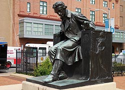 [photo, Edgar Allan Poe statue (1917), by Moses Jacob Ezekiel, Gordon Plaza, University of Baltimore, Baltimore, Maryland]