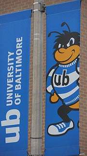 [photo, University of Baltimore flag with