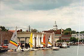 [photo, Sailboats at City Dock (State House dome in background), Annapolis, Maryland]