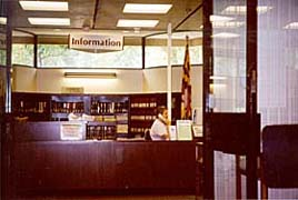 [photo, Information Desk, State Law Library, 361 Rowe Blvd., Annapolis, Maryland]