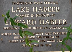 [photo, Plaque honoring Edward Habeeb at Lake Habeeb, known as Rocky Gap Lake, Rocky Gap State Park, Flintstone (Allegany County), Maryland]