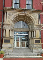 [photo, Allegany County Courthouse entrance, 30 Washington St., Cumberland, Maryland]