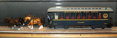 [photo, Model showing horses pulling train car between Presdient St. and Camden Stations, Baltimore, Baltimore Civil War Museum at President St. Station, 601 South President St., Baltimore, Maryland]