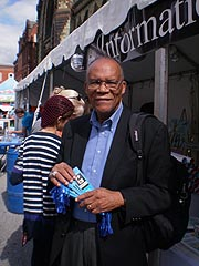 [photo, Larry S. Gibson at Baltimore Book Festival, Mount Vernon Place, Baltimore, Maryland]