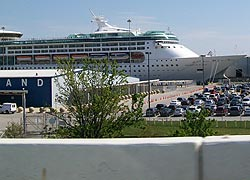 [photo, Grandeur of the Seas cruise ship, Cruise Maryland Termninal, Baltimore, Maryland, from the water]
