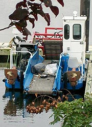 [photo, Dept. of Public Works trash skimmer boat, Canton Waterfront Park, Baltimore, Maryland]