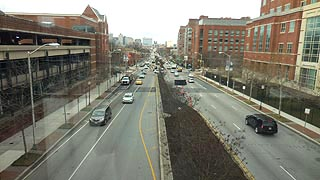 [photo, Orleans St. (looking west from Johns Hopkins Hospital), Baltimore, Maryland]