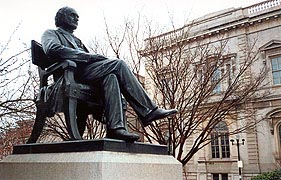 [photo, George Peabody statue before Peabody Institute, Mount Vernon Place, Baltimore, Maryland]