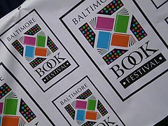 [photo, Baltimore Book Festival logo, Mount Vernon Place, Baltimore, Maryland]
