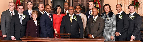 [photo, City Council members, City Hall, 100 North Holliday St., Baltimore, Maryland, August 2015]